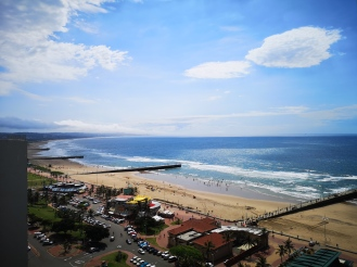 Durban beachfront, viewed from The Palace bedroom balcony
