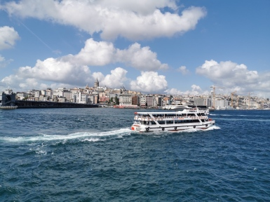 Public ferries run on the Bosphorus