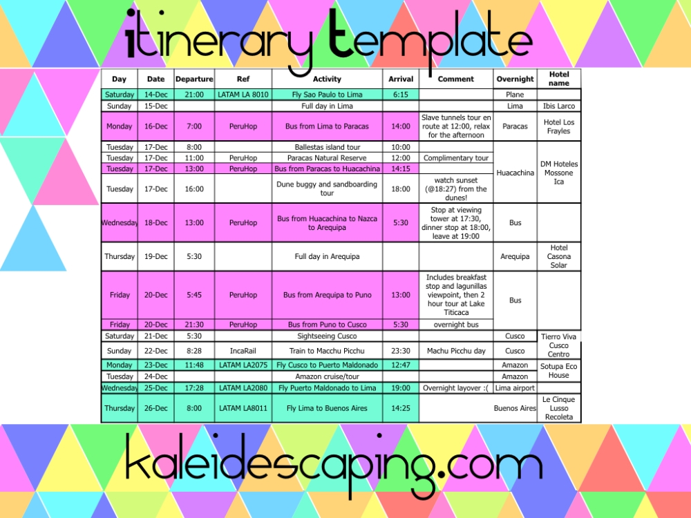 Kaleidescaping-itinerary-template