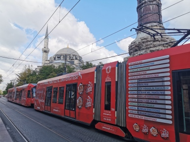 Tram going by Sultanahmet Mosque
